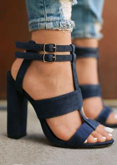 Solid Buckle Strap Heeled Sandals #sandals #shoes #summer #summerstyle #trendingnow #fitness #new #gift