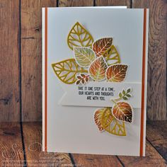 handmade card from Miss Pinks Craft Spot: One Step at a Time with Thoughtful Branches . luv the arrangement of leaves . die cuts and stamped . Stampin' Up! Pink Crafts, Paper Crafts, Stampin Up Karten, Leaf Cards, Theme Noel, Stamping Up Cards, Thanksgiving Cards, Get Well Cards, Fall Cards