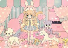 ✮ ANIME ART ✮ anime. . .pastel. . .toys. . .bows. . .rainbow. . .balloons. . .cute. . .kawaii