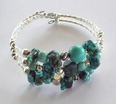 Eclectic Turquoise Memory Wire Bracelet - The Beading Gems Journal