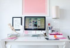 Love the white and pink accents in this desk area!