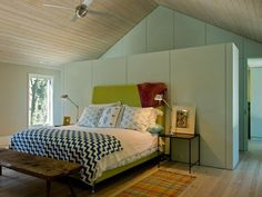 pickled wood ceilings calm bedroom interior design