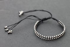 Adjustable Black Silver Bracelet by XtraVirgin on Etsy, $8.00