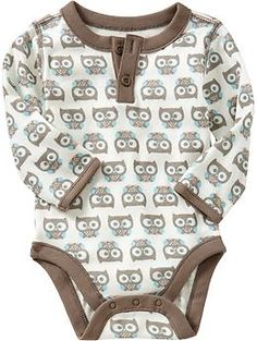 Owl-Print Henley Bodysuits for Baby | Old Navy