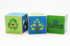 Eco Friendly Children Go Green Wooden Blocks for baby green nursery decor recycled paper Children Earth Day