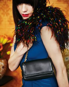"""Black calfskin """"Artemis"""" shoulder bag with multicolor ostrich feathers, Christian Louboutin. Feather Fashion, Denim Shoulder Bags, Best Handbags, Best Bags, Real Style, Beautiful Bags, Colorful Fashion, Artemis, Christian Louboutin"""