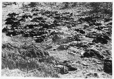Burned corpses lie on the grounds of the Klooga concentration camp. A subcamp of the Vaivara concentration camp in Estonia, Klooga held some 2400 Jews and Soviet POWs.  In July of 1944, as Soviet Troops approached, German and Estonian troops massacred the camp population.  Only 85 inmates managed to hide or escape and survive.