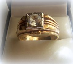 ART DECO MEN's 10k GOLD RING w/WHITE GOLD MOUNT w/1.5 ct SIMULATED stone STONE