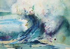 Wave II Watercolor SOLD Prints available from http://bj-pinkston.fineartamerica.com