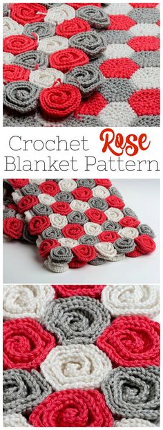 I would've never thought to make a blanket out of crochet roses - this pattern is so pretty ...#afflink #crochet #crochetpattern #crochetblanket #etsy #handmade