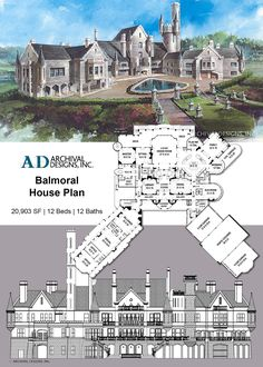ARCHIVAL DESIGNS EXCLUSIVE Imagine centuries ago in Old Europe, Kings and Queens lived in the unprecedented splendor and security of Castles. Today wealthy Americans can still have this level of grandeur in this Royal living space. Castle Floor Plan, Castle House Plans, House Plans Mansion, Sims House Plans, Dream Mansion, Luxury House Plans, Dream House Plans, House Floor Plans, Dream Houses