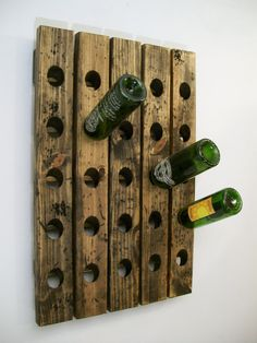 Great way to store wine. A Wine Riddling Rack Distressed Wood Antique Style by Riddling Rack, Cnc Maschine, Bois Diy, Wood Wine Racks, In Vino Veritas, Wine Storage, How To Distress Wood, Old Antiques, Wood Crafts