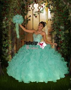 Turquoise New 2014 sparkling beading organza ruffled puffy corset sweet 15 dress quinceanera ball gown RF03