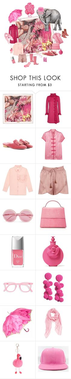 """Pink meets safari"" by ellasophialove ❤ liked on Polyvore featuring Salvatore Ferragamo, Gucci, Staud, Marni, Boohoo, Wildfox, Hunter, Hunting Season, Christian Dior and Valentino"
