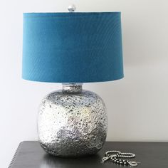 Molten Silver Glass Table Lamp with Velour Shade | Black Mango