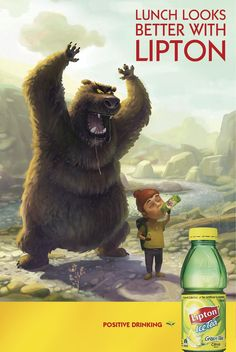 Lipton Ice Tea print ad depicting bear attacking unsuspecting camper with slogan 'Lunch looks better with Lipton' / by DDB Sydney, Australia, July 2013 Creative Poster Design, Graphic Design Print, Creative Posters, Creative Advertising, Advertising Design, Marketing And Advertising, Lipton Ice Tea, Great Ads, Guerilla Marketing