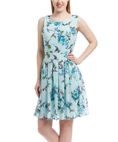 Another great find on #zulily! Teal Hummingbird Fit & Flare Dress by Paper Plane London #zulilyfinds