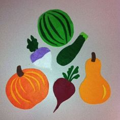 """Make felt fruit/veggies. Put them all on the board at once and say, """"Wow, look at all the veggies in our garden! I'm going to pick one for dinner, and you try to guess which one is missing."""""""