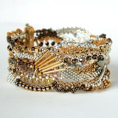 Enticement - a freeform bracelet using 24k gold and silver plated, and bronze beads with a Beadsmith (Helby) clasp