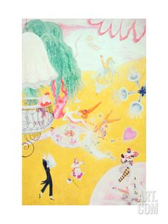 Love Flight of a Pink Candy Heart, 1930 Giclee Print by Florine Stettheimer at Art.com