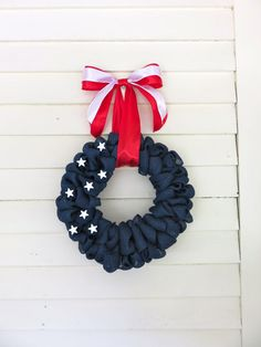 4Th of July Wreath Blue Burlap Wreath With by MaineMadeWreaths