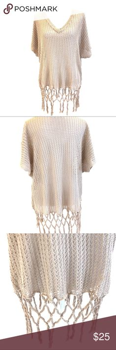 CAbi Fling Fringe Sweater EUC. CAbi Knit Fling Sweater with Fringe Detailing, Sz S. 100% cotton. CAbi Sweaters