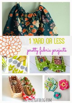 1 Yard Or Less Fabric Projects - twelveOeight Sewing Tools, Sewing Hacks, Sewing Tutorials, Sewing Crafts, Sewing Projects, Sewing Patterns, Diy Projects, Sewing Ideas, Fabric Scraps