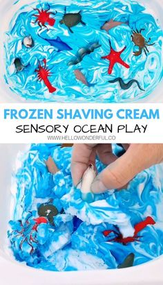Yes, you can freeze shaving cream! This frozen shaving cream ocean sensory play is great for toddlers, preschoolers and kids to dig their hands into! Sensory Activities For Preschoolers, Sensory Games, Ocean Activities, Sensory Tubs, Sensory Play, Preschool Activities, Sensory Rooms, Motor Activities, Sensory Diet