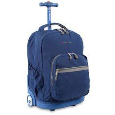 JWorld New York Sunrise Rolling Backpack - Indigo Backpacks Jansport Rolling Backpack, Girls Rolling Backpack, Backpack Brands, Travel Backpack, Fashion Backpack, Carry On Luggage, Travel Luggage, Kids Backpacks, School Backpacks