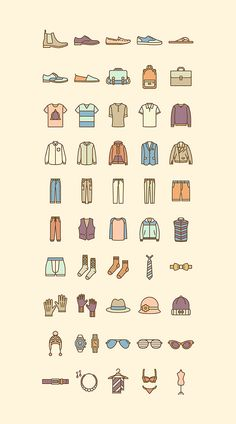 Fashion flat icon set by selinozgur https://www.behance.net/selinozgur
