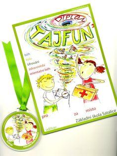 medaile a diplom pro vítěze školní soutěže Tajfun