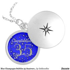 Blue Champagne Bubbles 35 Anniversary Locket Necklace - $37.95 - Blue Champagne Bubbles 35 Anniversary Locket Necklace - by #RGebbiePhoto @ #zazzle - #Blue #Abstract #Bubbles - A commemorative keepsake! Change text to make this anniversary necklace a six month award or a 50 year piece! Background looks like a party! Like water beading off of a freshly waxed car, these water droplets are scattered like raindrops. Blue bubble party theme. Abstract bubbles like blue champagne.