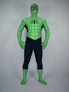 Green And Black Full Body Spandex Spiderman Costume