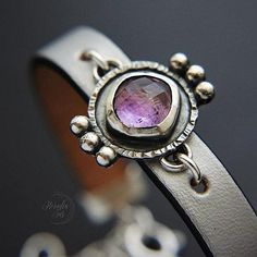 Leather & Silver Bracelet With Amethyst