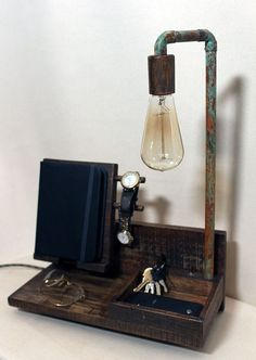 Docking station for all your pocket treasures. Best storage item.  Best organizer.  -Reclaimed wood -Patina finish copper LAMP HOLDER  -14