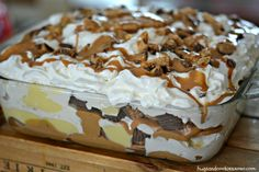 Peanut Butter Cookie Lasagna  Ingredients 1 box Nutter Butter Cookies Cool Whip or whip your own fresh whipped cream (1 cup cream plus a drop of sugar for sweetness) peanut butter cups ½ cup peanut butter, melted in microwave 1 box instant or regular vanilla pudding, prepared according to package Instructions Line the bottom of an 8×8 pan with Nutter Butter Cookies. Top with a drizzle of the melted peanut butter. Add ½ the pudding. Add half the cream. (I like to use a pastry bag so it is…