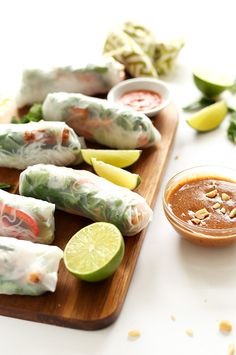 Crispy Tofu Vietnamese Spring Rolls with Almond Butter Dipping Sauce! 30 minutes and SO delicious!
