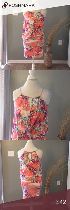 """NWT Voom by Joy Han Floral Wrap Dress w pockets New with tags. Too small for me. Absolutely beautiful! 19"""" Pit to Pit 34"""" L has pockets Voom by Joy Han Dresses Mini"""