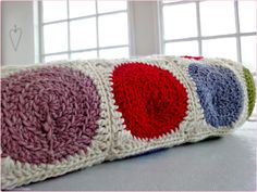 rainbow retro circle blanket - rolled up
