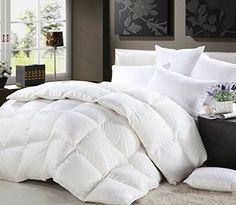Twin XL Size Siberian Goose Down Comforter Egyptian Cotton White Stripe New #EgyptianCottonFactoryOutletStore
