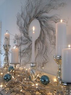 Curly Willow Branches on the mantle!
