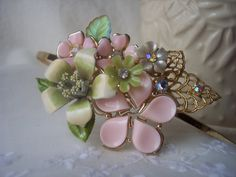 SWEET APPLEBLOSSOM VINTAGE Headband for the Beautiful Bride Bridesmaid Flowergirl Just for Dress Up Shabby Chic Dainty and Feminine on Etsy, $72.00
