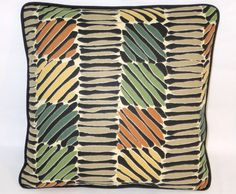 Tropical Weave Throw Pillow Black Green Tan by PillowDetails