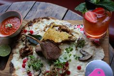 Lamb flatbread with strawberry daiquiri