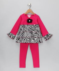 Take a look at this Fuchsia Zebra Ruffle Tunic & Leggings - Infant, Toddler & Girls by Kash Ten on #zulily today!