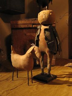 Primitive Pumpkin Doll with Goat ᶫᵒᵛᵉ