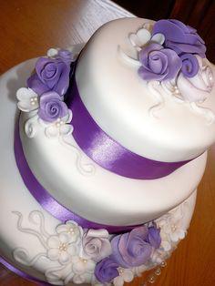Purple and white wedding cake