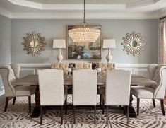 Dining room lighting: How a dining room chandelier will elevate your dining room decor Dining Room Colors, Dining Room Wall Decor, Elegant Dining Room, Dining Room Lighting, Dining Room Design, Mirrors In Dining Room, Chandelier Lighting, Formal Dining Rooms, Wall Mirrors