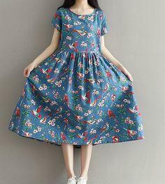Women loose fit over plus size retro vintage flower bird dress skirt blouse  #Unbranded #dress #Casual