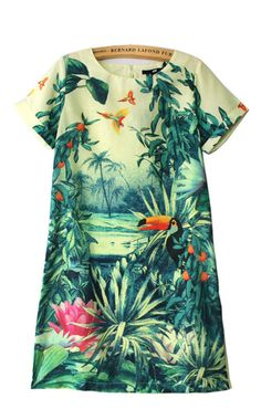 Landscape Painting Printing Short Sleeves Shift Dress